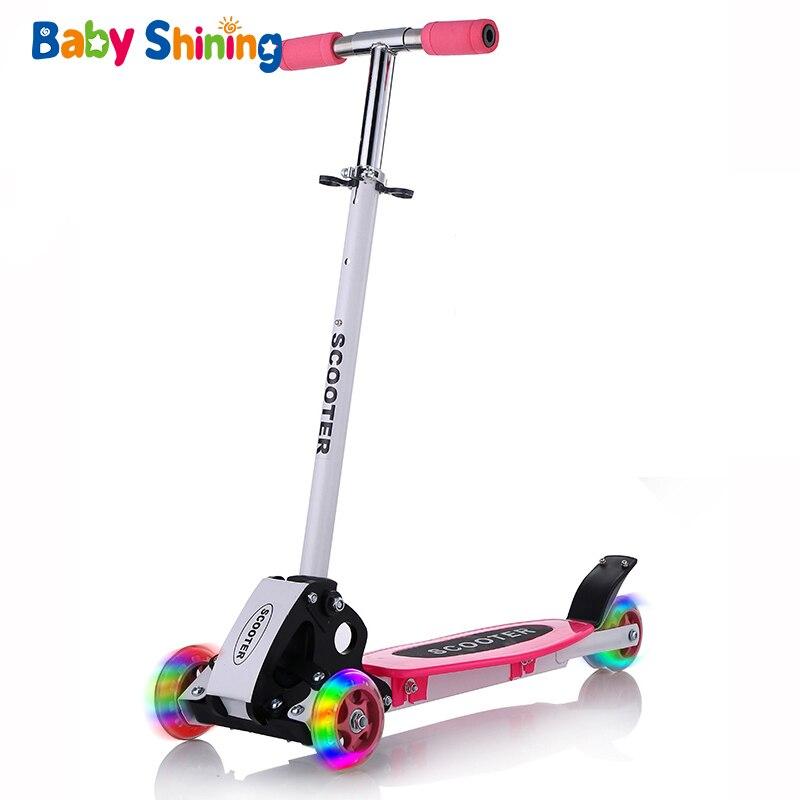 Bébé brillant enfants Scooter en plein air jouet bébé vélo sécurité coup de pied Scooter pliant Flash roues Scooter pour enfants jouets garçons monter sur