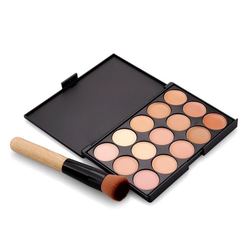 15 Colors Face Concealer Set Camouflage Cream Contour Palette Cosmetic Foundation Paleta Concealer With Makeup Brushes Sponge