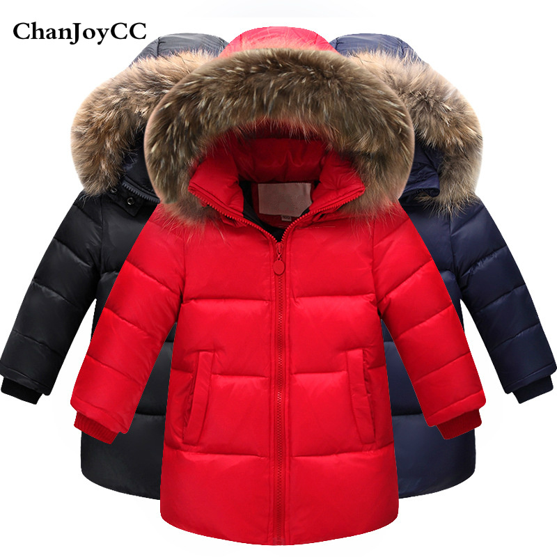 Winter Down Jacket Parka For Children Girls Boys Coats Kids Thickening Warm Hooded Clothing 80% White duck down Coat 1-9 year new 2017 russia winter boys clothing warm jacket for kids thick coats high quality overalls for boy down
