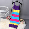 [Alphalmoda] 2017 Summer Women New Striped Dress Hit Color Pullovers Knitted Sundress Long Mid-calf Female Summer Sheath Dress