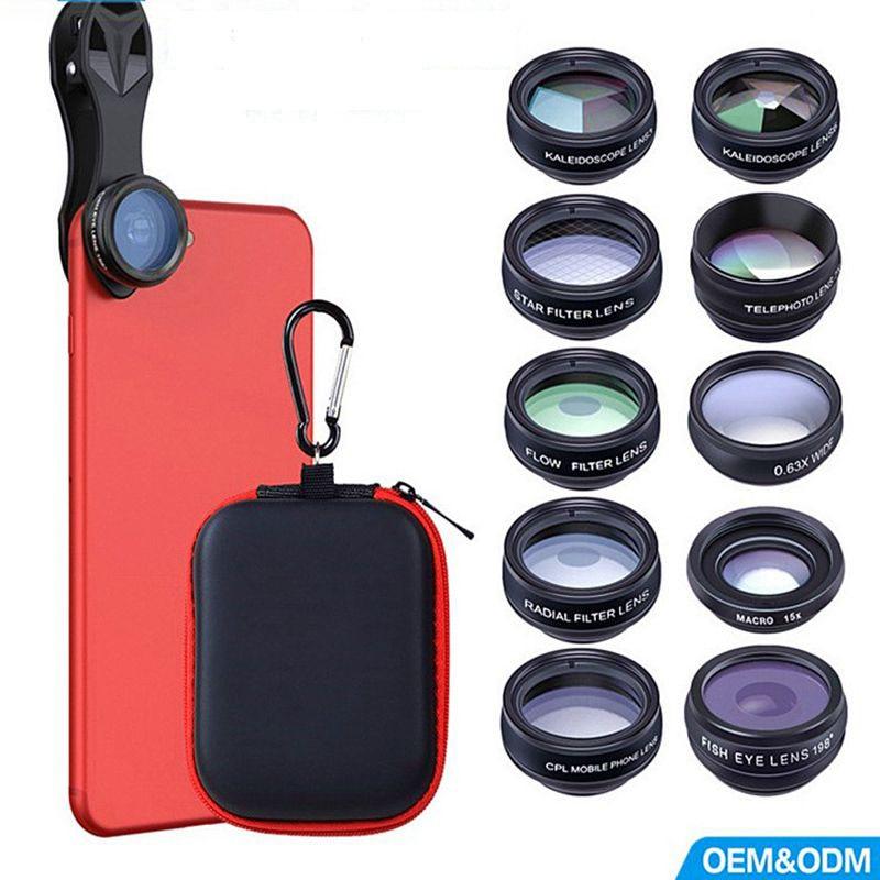 A 10in1 Phone camera Lens Kit Fisheye Wide Angle macro 2X