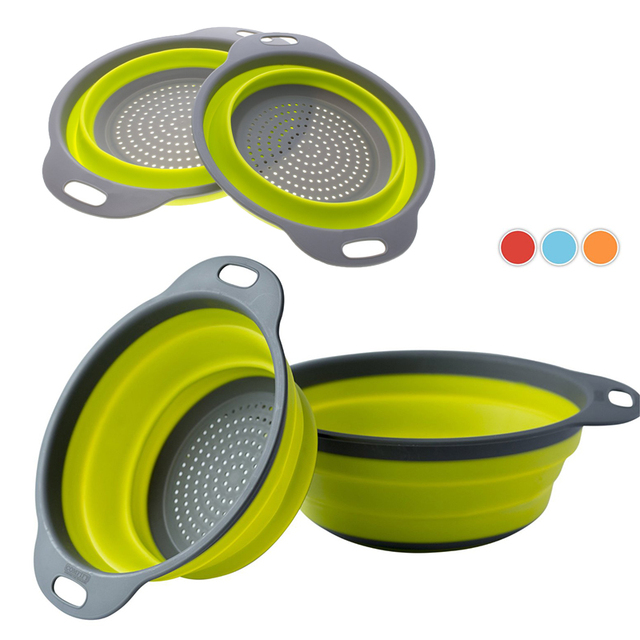WALFOS 2 Pieces Collapsible Silicone Colander Folding Kitchen Silicone Strainer Including One 8 Inch and One 9.5 Inch
