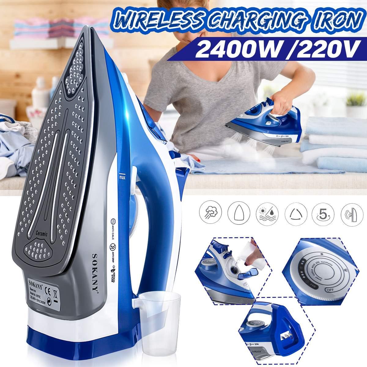 2400W Cordless Electric Steam Iron AC 220V Ironing Machine Garment Flatiron Adjustable Thermostatic Control Non-stick Soleplate