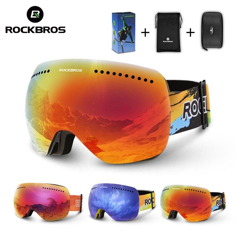 ROCKBROS Double lentilles lunettes de Ski lunettes de Ski UV 400 Snowboard hommes femmes grand masque Snowboard lunettes couches lunettes moteur