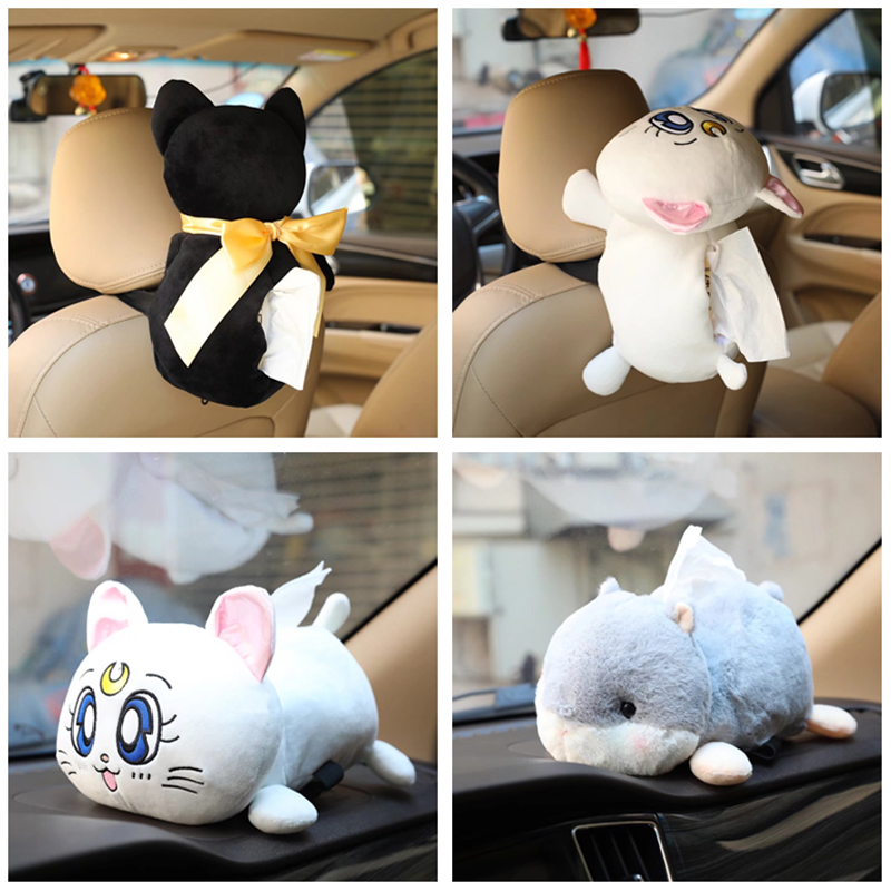 candice guo! Super cute plush toy silhouette cat sailor moon Luna cat kitten hamster tissue box cover creative birthday gift 1pc lovely cartoon plush toy totoro stitch michey marie cat cat donald duck dumbo tissue box cover paper towel cases gift 1pc