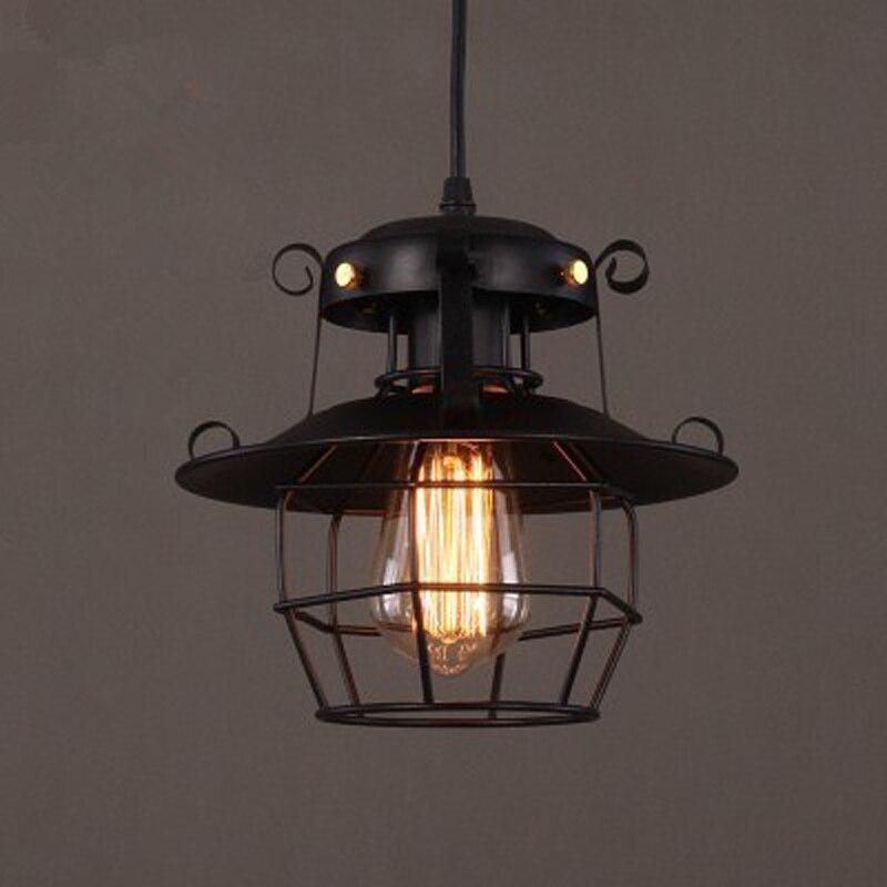 Retro industrial wind bar cafe American creative pendant light iron personalized birdcage explosion single head lamp ya72915