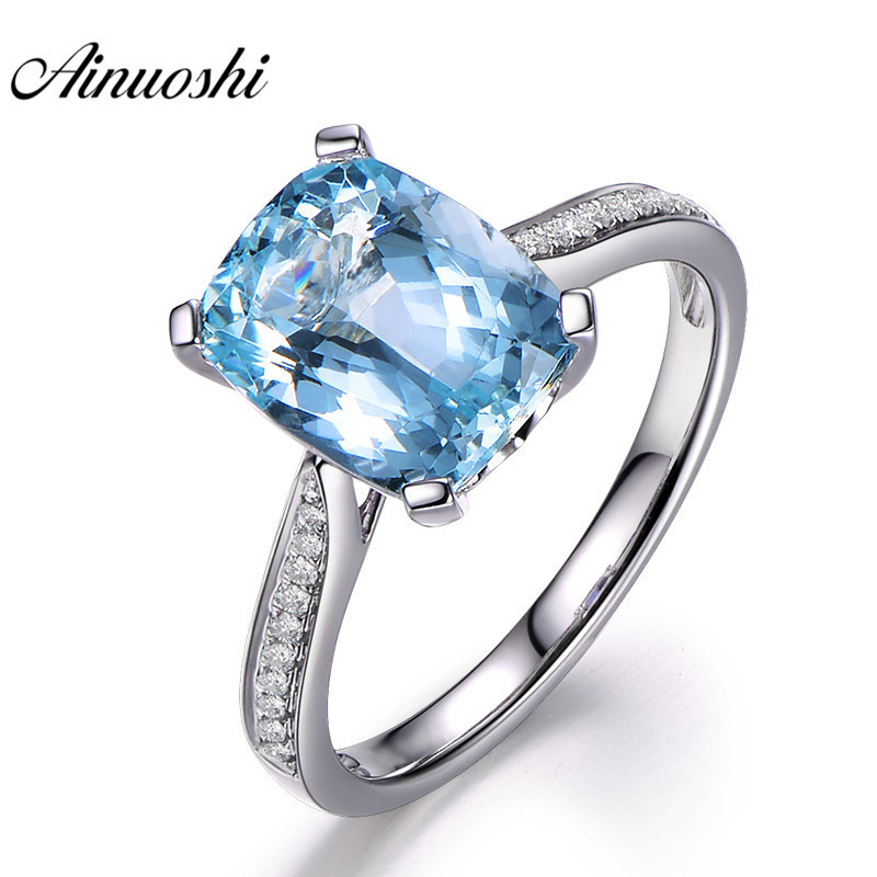 AINUOSHI Pure 925 Sterling Silver Topaz Ring 4 Prong Sparkling Solitaire 5ct Cushion Cut Sky Blue