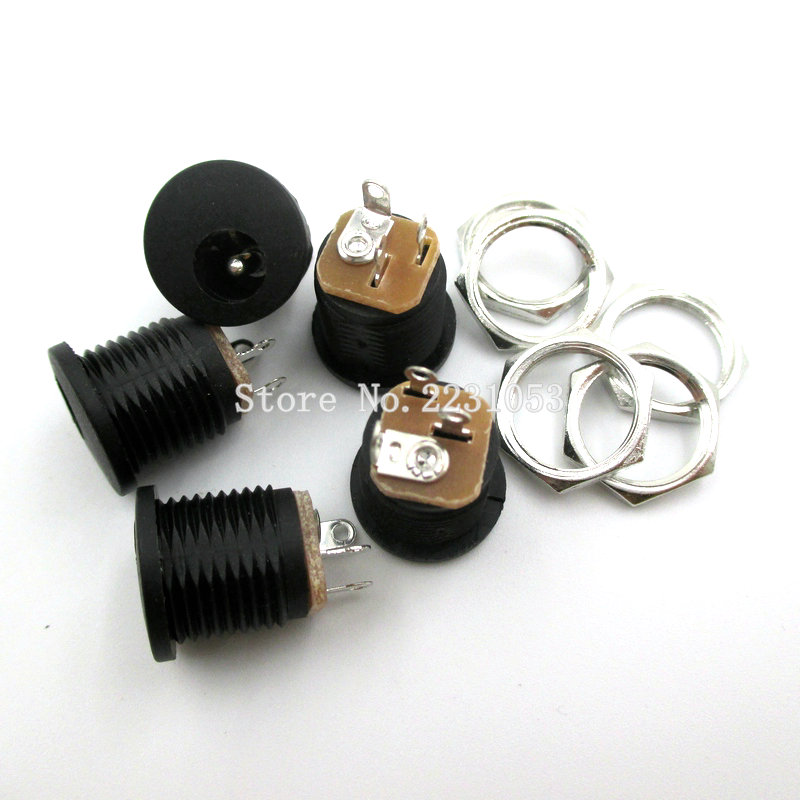 10PCS/LOT DC-022 DC Power Jack Socket Dc Connector Adapter Interface DC022 5.5X2.1 Mm Supply Jack Socket Panel Mount Plug