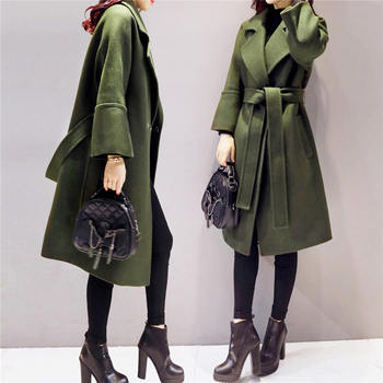 Army Green Woolen Coat Women 2018 Long Parkas Manteau Femme Elegant Winter Coat Women Flare Sleeve Belt Wool Jacket Female C3617