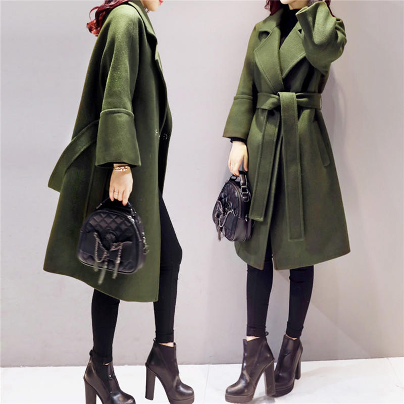 Manteau Woolen Coat Women Army Parkas 2019 Green Long Femme nPw0O8k