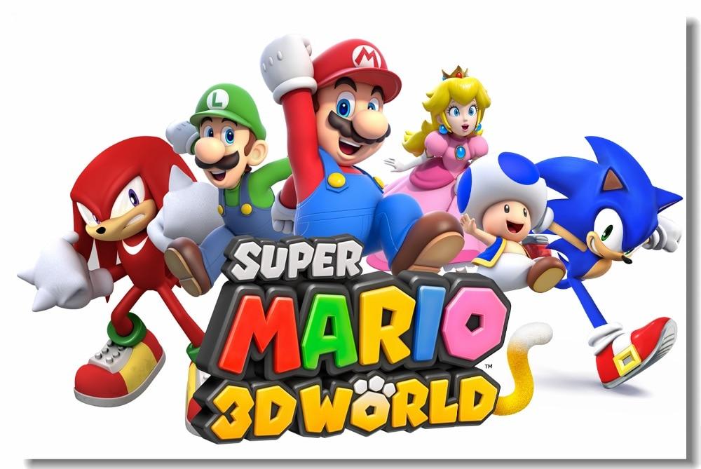 Custom Canvas Wall Decor Super Mario 3D World Poster Luigi Peach Stickers Mural Video Game Wallpaper Kids Bedroom Decals #0465#