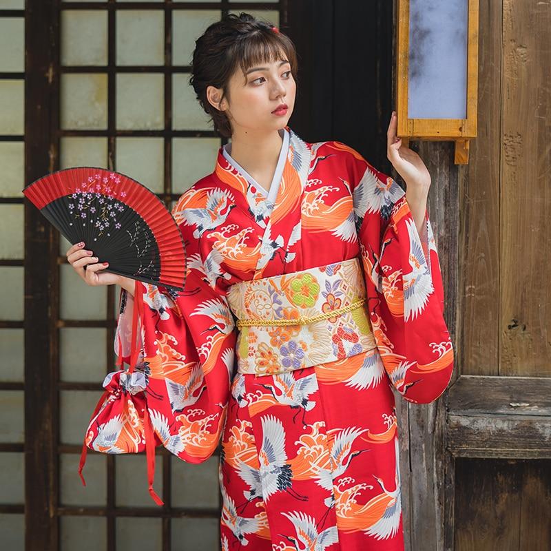 Red Crane Traditional Women Kimono Gown Vintage Japanese Yukata Print Girl Dress Cosplay Clothes Elegant Long Robe Size S M