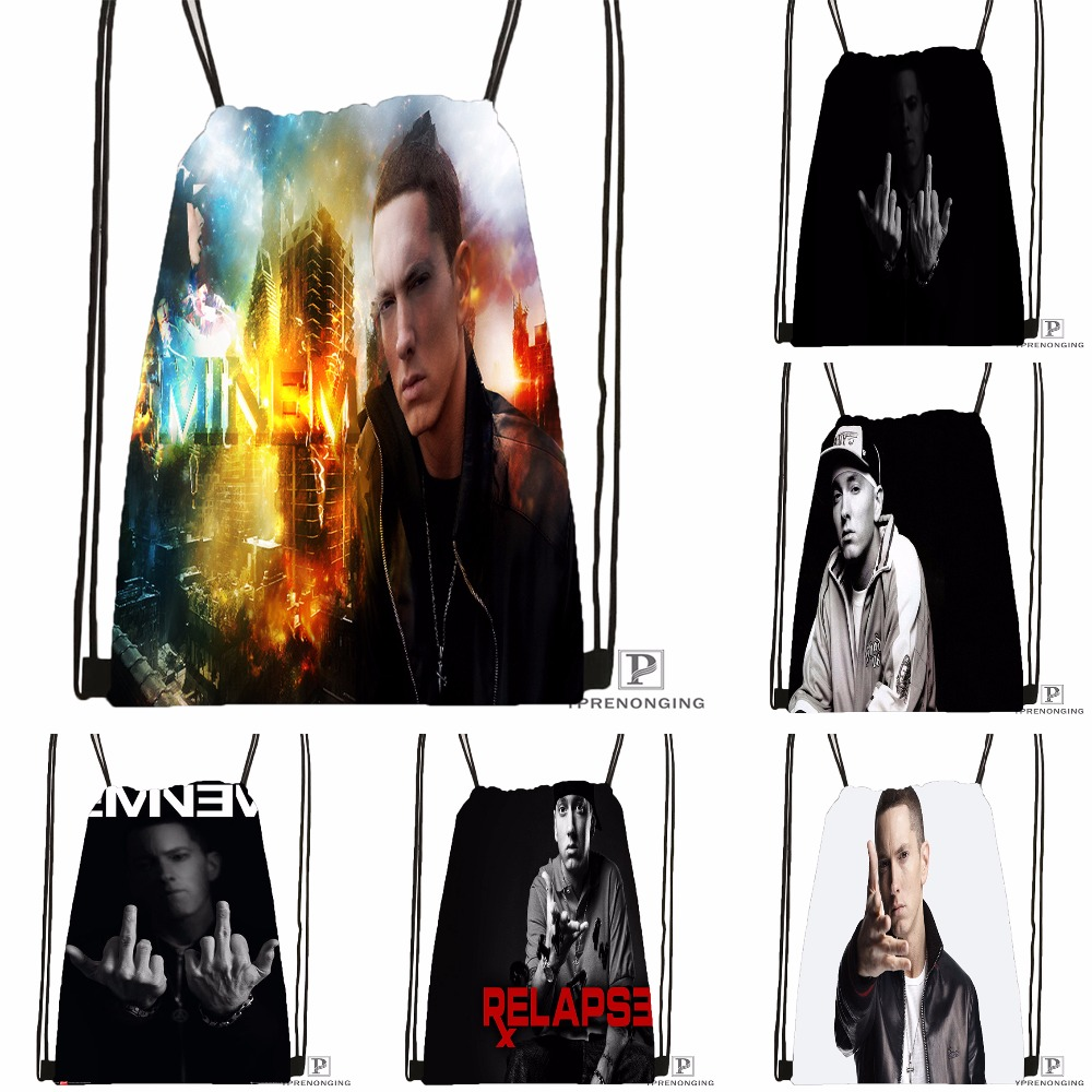 Custom Eminem Drawstring Backpack Bag For Man Woman Cute Daypack Kids Satchel (Black Back) 31x40cm#180531-01-15