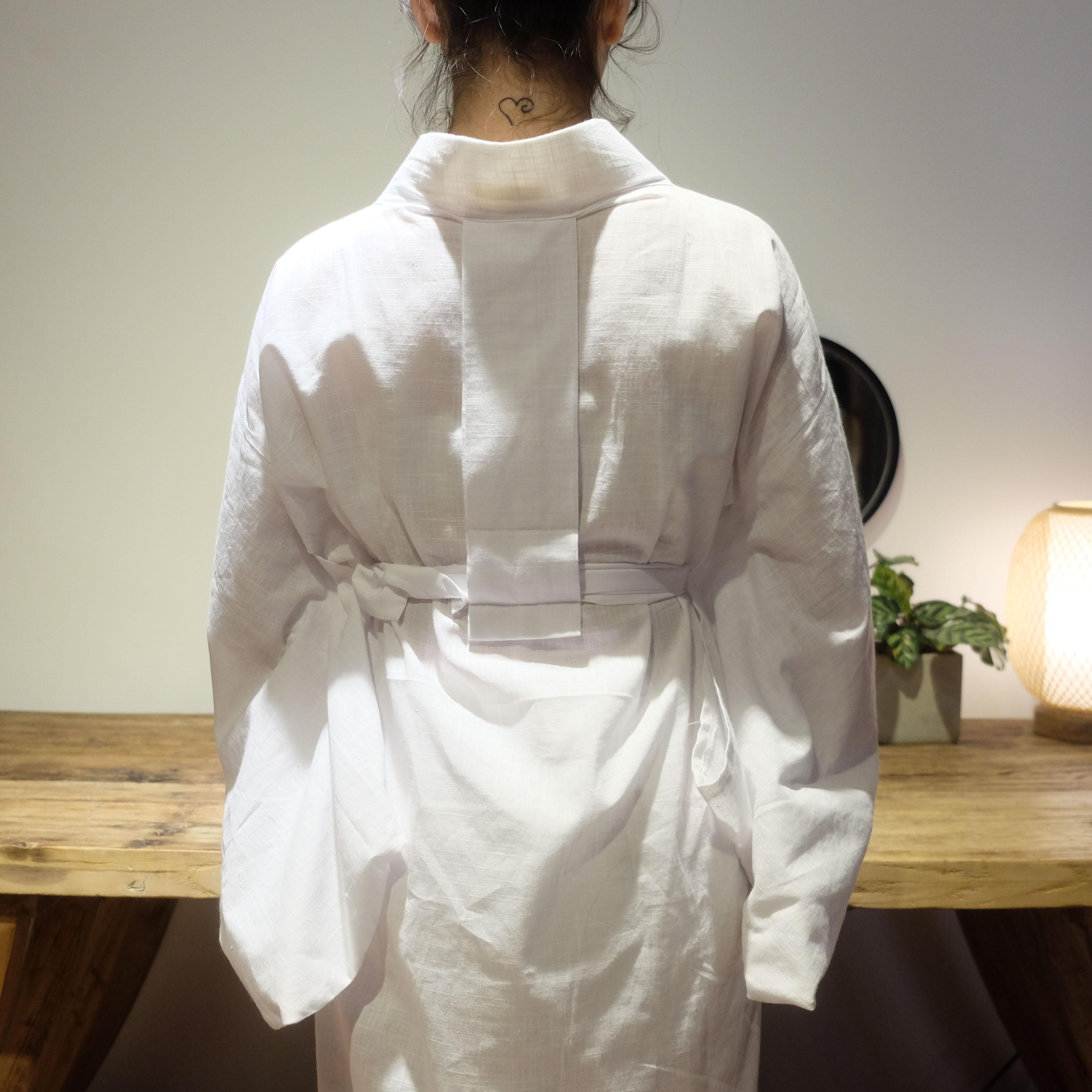 2020 femme japonais Kimono Style yukata ample solide blanc intérieur Tendon y compris le col
