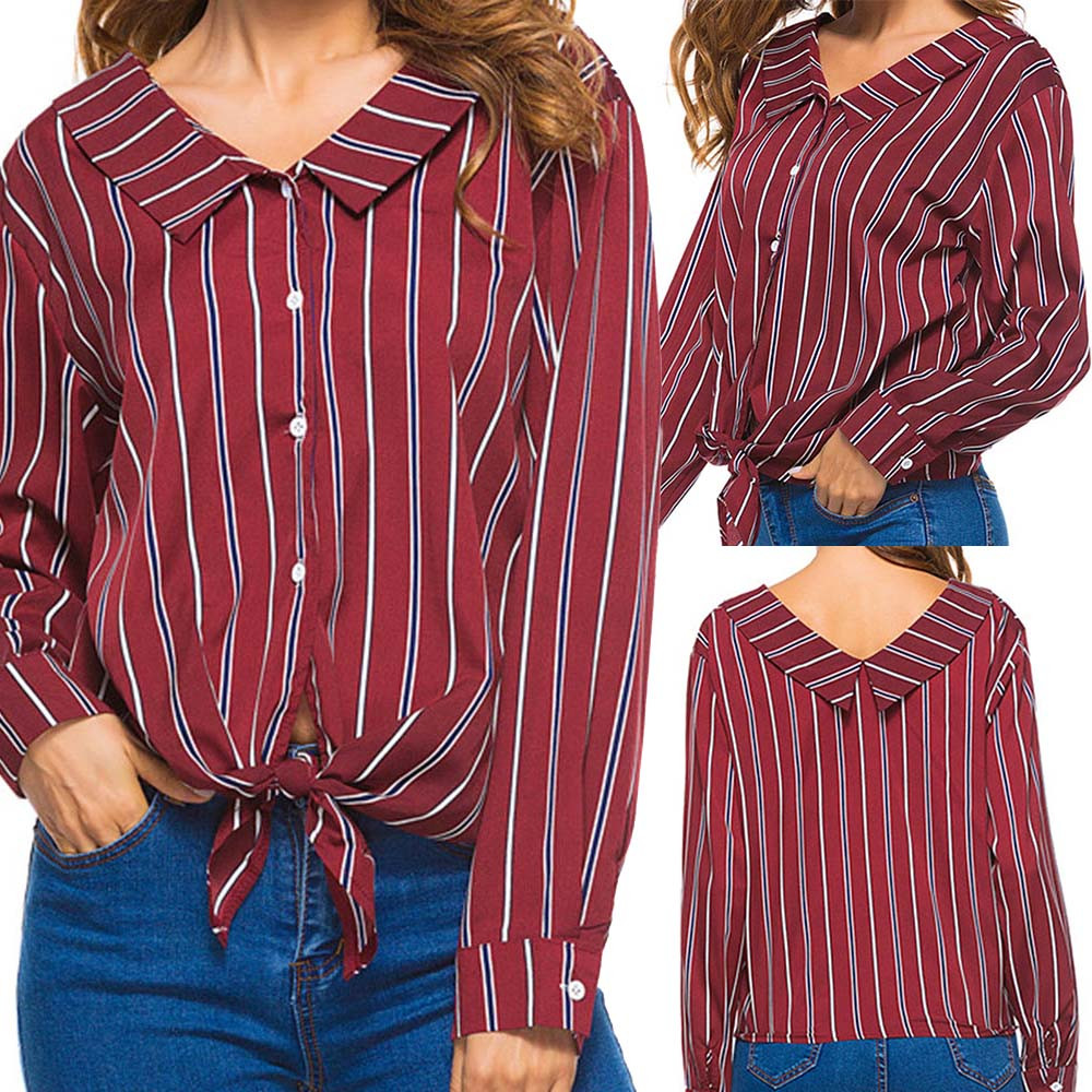 2018 women shirts blouses ladies striped blouse casual long sleeve bow women plus size tops women clothing new arrivals