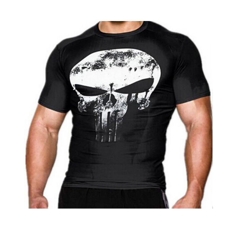2017 compression shirt 3d punisher skull mma workout for T shirts for gym workout
