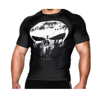 2016 Compression Shirt 3D Punisher Skull Captain America Superman T Shirt Gym Fitness Tights Tshirt Sport