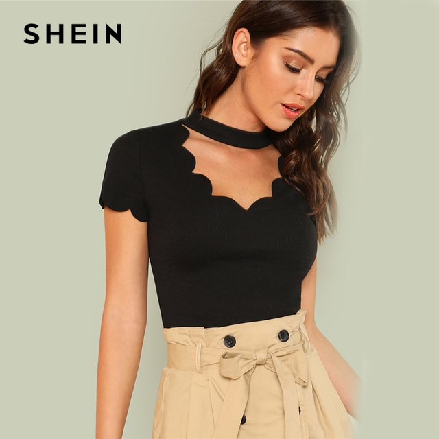 SHEIN Elegant Mock Neck Scallop Trim Cut Out V Collar Short Sleeve Solid Tee Summer Women Weekend Casual T-shirt Top