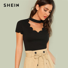 SHEIN Elegante Mock Neck Scallop Trim Cut Out V Kragen Kurzarm Solide T Sommer Frauen Wochenende Casual T-shirt Top(China)