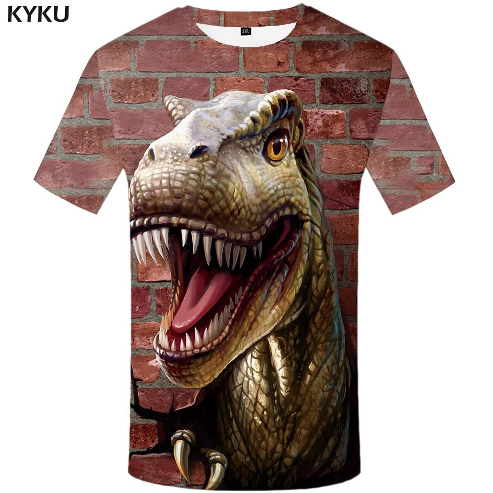 KYKU Brand Dinosaur T Shirt Men Animal Tshirt Wall T-shirts 3d T-shirt Hip Hop Tee Fitness Mens Clothing 2018 Summer Casual Top