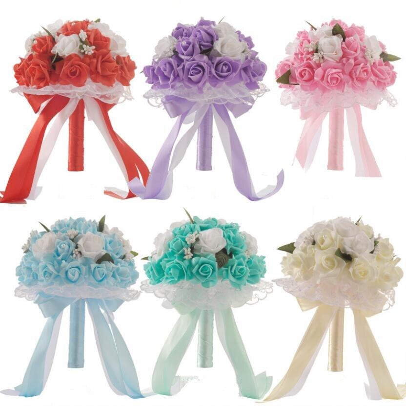 Clever Ayicuthia Braut Mit Blumen, Romantische Hochzeit Bunte Braut Bouquet, Rot Rosa Blau Und Lila Braut Bouquets's Lila S135 Seien Sie Im Design Neu