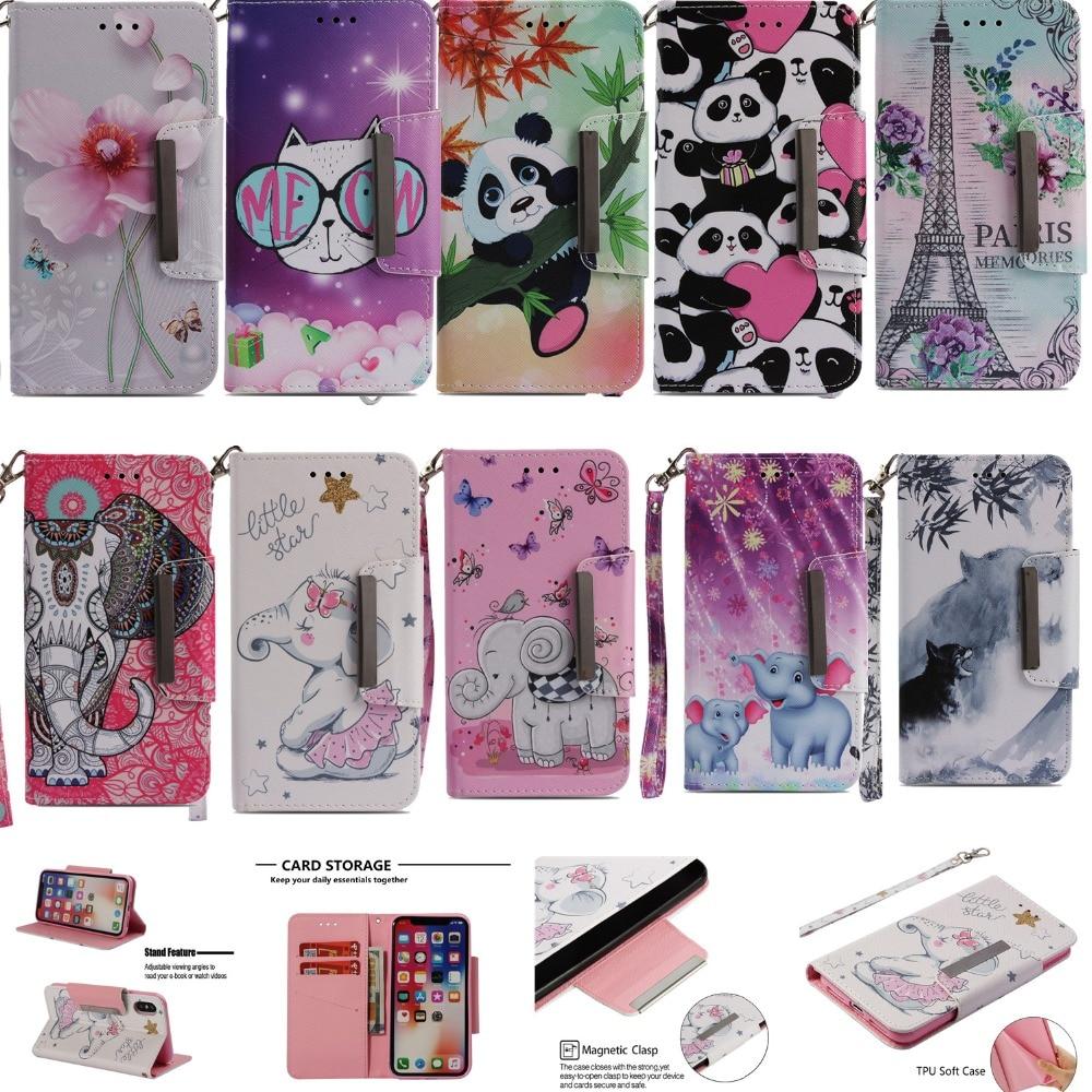 Flowers or Elephant flip wallet leather soft TPU case for LG K8 2018 EU K10 2018 K30 Stylo