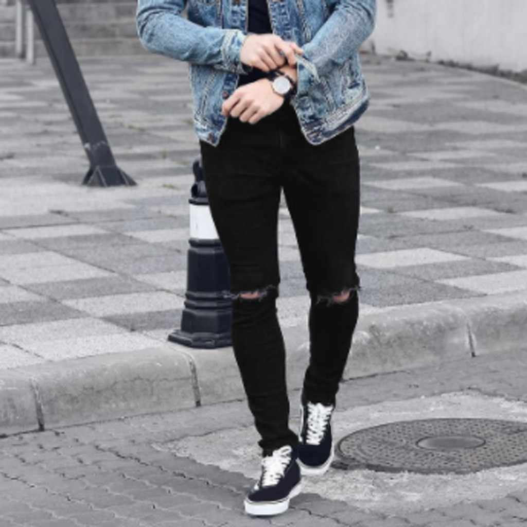 Men Ripped Skinny Jeans Stretch Destroyed Frayed Slim Fit Denim Pant with Zipper Pencil Pants Trousers Men Clothes
