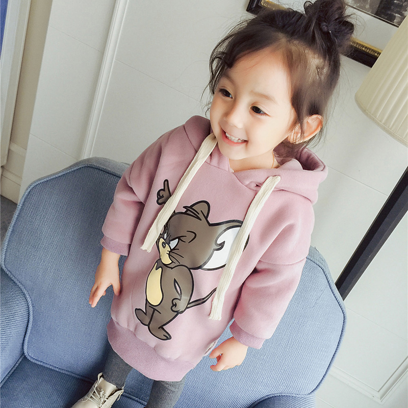 Baby Girls Boys Hoodie Clothes Spring Autumn Add Wool Warm Sweatshirts Cartoon Mouse Printing Black Pink Kids Students 12M-6T