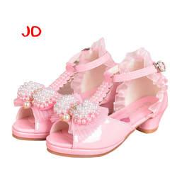 75e7af6e8 Летние Детские тапочки сандалии для девочек с бантом для девочек обувь для  детей Детская на высоком