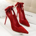 2016 New Summer Pumps Sweet Beauty High Heels Shoes Thin Suede Flock Bow High-heeled Pointed Hollow Shallow Shoes G3168-1