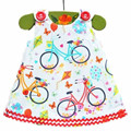 2016 Baby Girl Dress Sleeveless Summer Dress For Vestido Infanti Bicycle Pattern Baby Princess Dress For Baby Girl Clothes