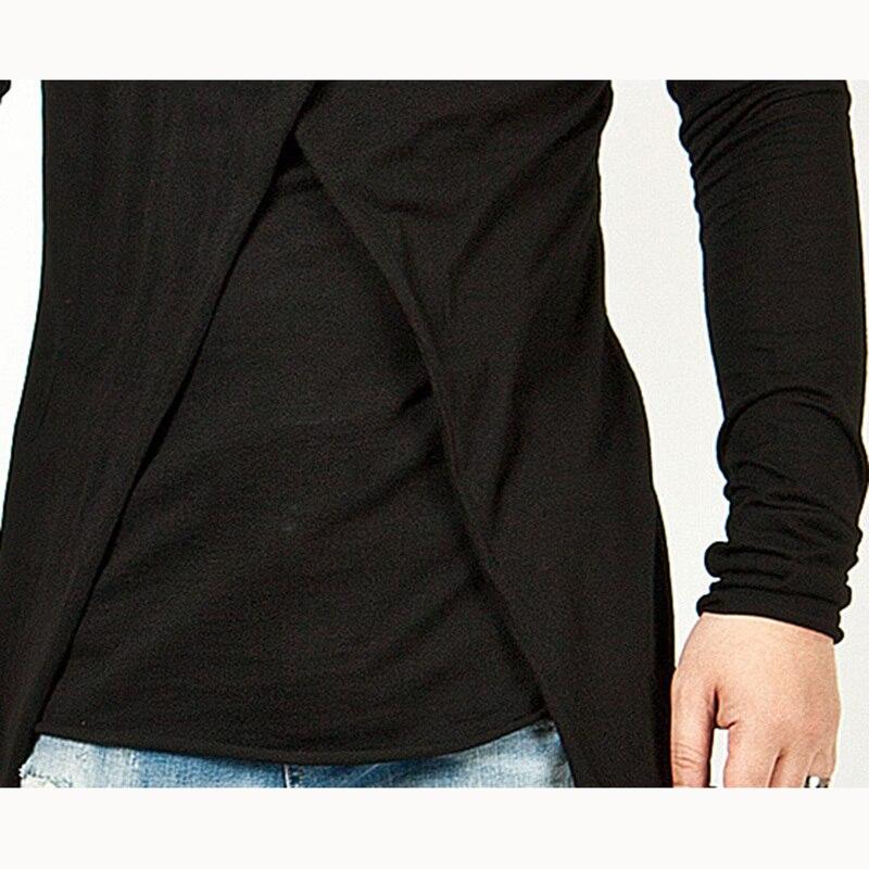 Moomphya 2018 Men Super Stylish Cross Layered Swallow Tail Long Tee Men long sleeve t-shirt Longline hem tshirt streetwear 5