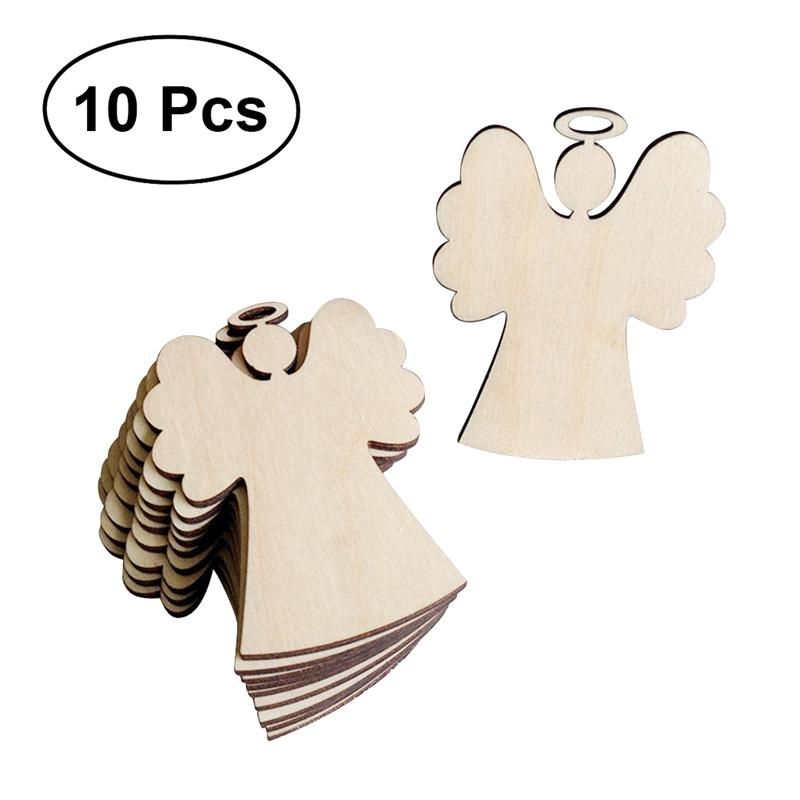 1 Pack Wooden Angel Shaped Pendants Christmas Party Decor Hanging Ornaments For Christmas Tree
