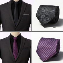 2019 Cravate New Brand Striped Purple Neck Ties For Mens  Wedding Tie 8 cm Width Gravata Party Neckties