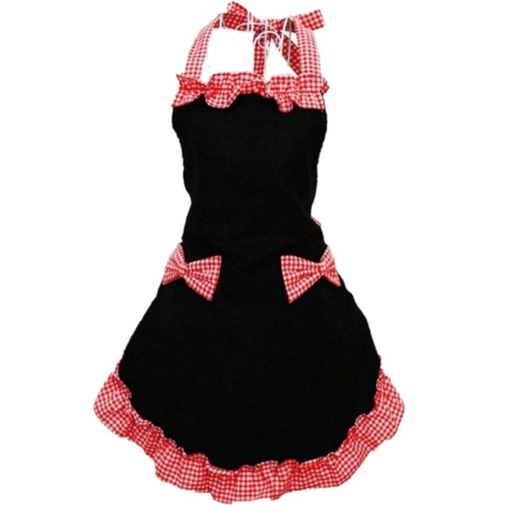 Hot Princess Cotton Grid Pattern Working Chefs Kitchen Cook Womens Set Apron With Bowknots Pockets Design Black With Red