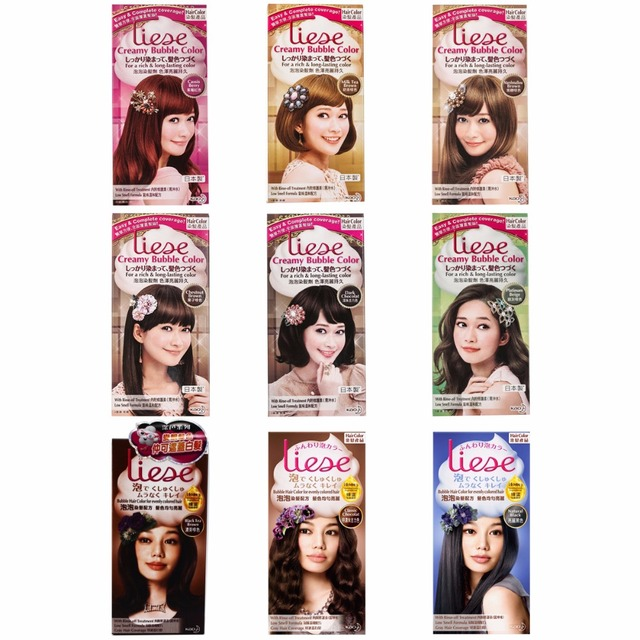 Japan Kao Liese Creamy Bubble Hair Dye Hair Color Kit 9 Color Free