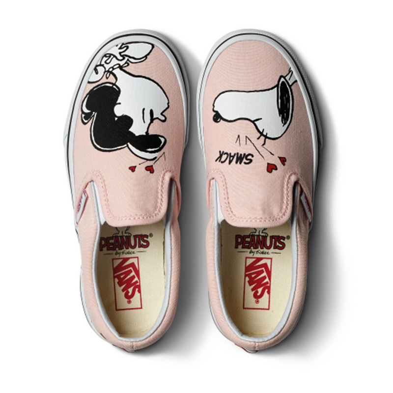 купить Original Vans Shoes VANS X PEANUTS Women's Slip-on Pink Colour Skateboarding Shoes Sport Shoes Cartoon Flat Low-Top Sneakers недорого