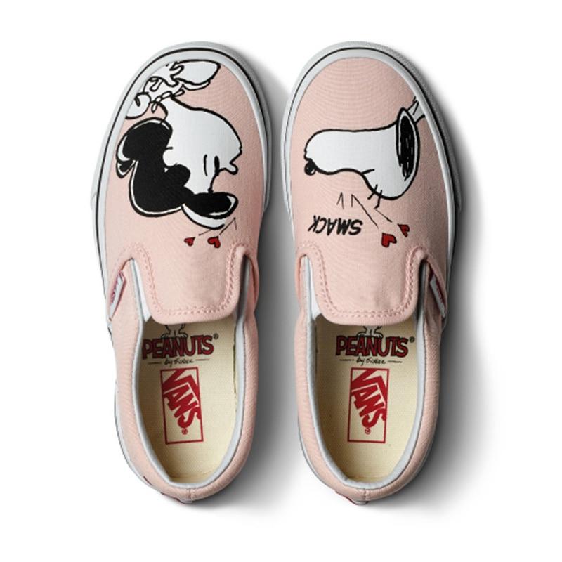 Original Vans Shoes VANS X PEANUTS Women's Slip-on Pink Colour Skateboarding Shoes Sport Shoes Cartoon Flat Low-Top Sneakers
