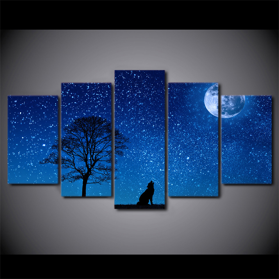 5 Piece HD Printed Howling Wolf Stars Night Framed Wall Picture Art Poster Painting On Canvas For Living Room Garden Decoration