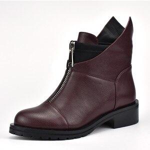 Image 5 - MORAZORA 2020 جديد ريستور النساء الأحذية جولة تو الخريف الشتاء الأحذية مربع الكعب فستان أحذية الأحذية سستة حذاء من الجلد
