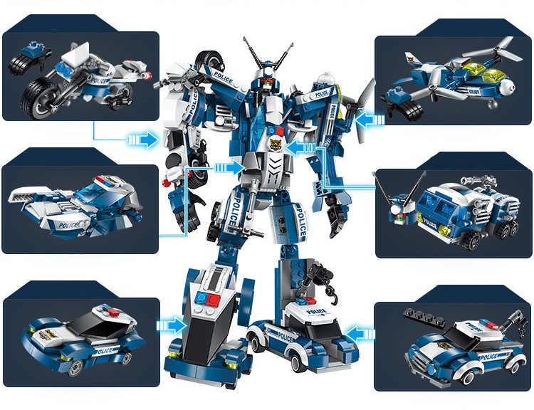 1407 577 Pcs 6in1 Polisi Jenderal Perang Robot Mobil Pesawat Moto Perahu Bangunan Bata Blok Mainan untuk Anak