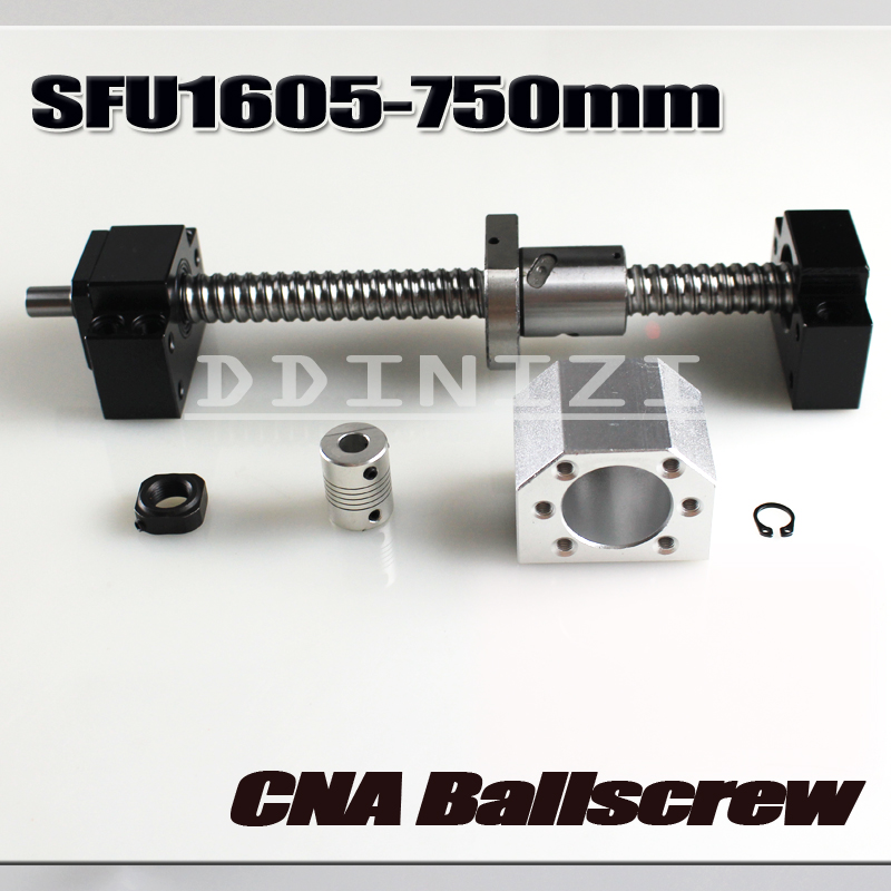 Ballscrew 750mm SFU1605 rolled ball screw C7 with end machined +1605 ball nut + nut housing+BK/BF12 end support + coupler RM1605 xo bs 2 white