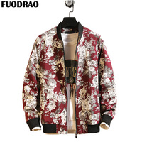 FUODRAO Japan Style Streetwear Hip Hop Bomber Jacket Men Clothing Floral Print Men Jackets Coat Harajuku Jaqueta Masculino J117