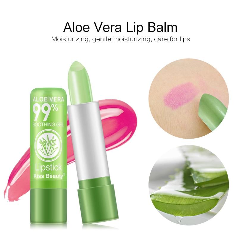 Nawilżający balsam do ust z aloesem balsam do ust zmiana temperatury kolorowa szminka długotrwałe odżywcze usta makijaż TSLM1 1