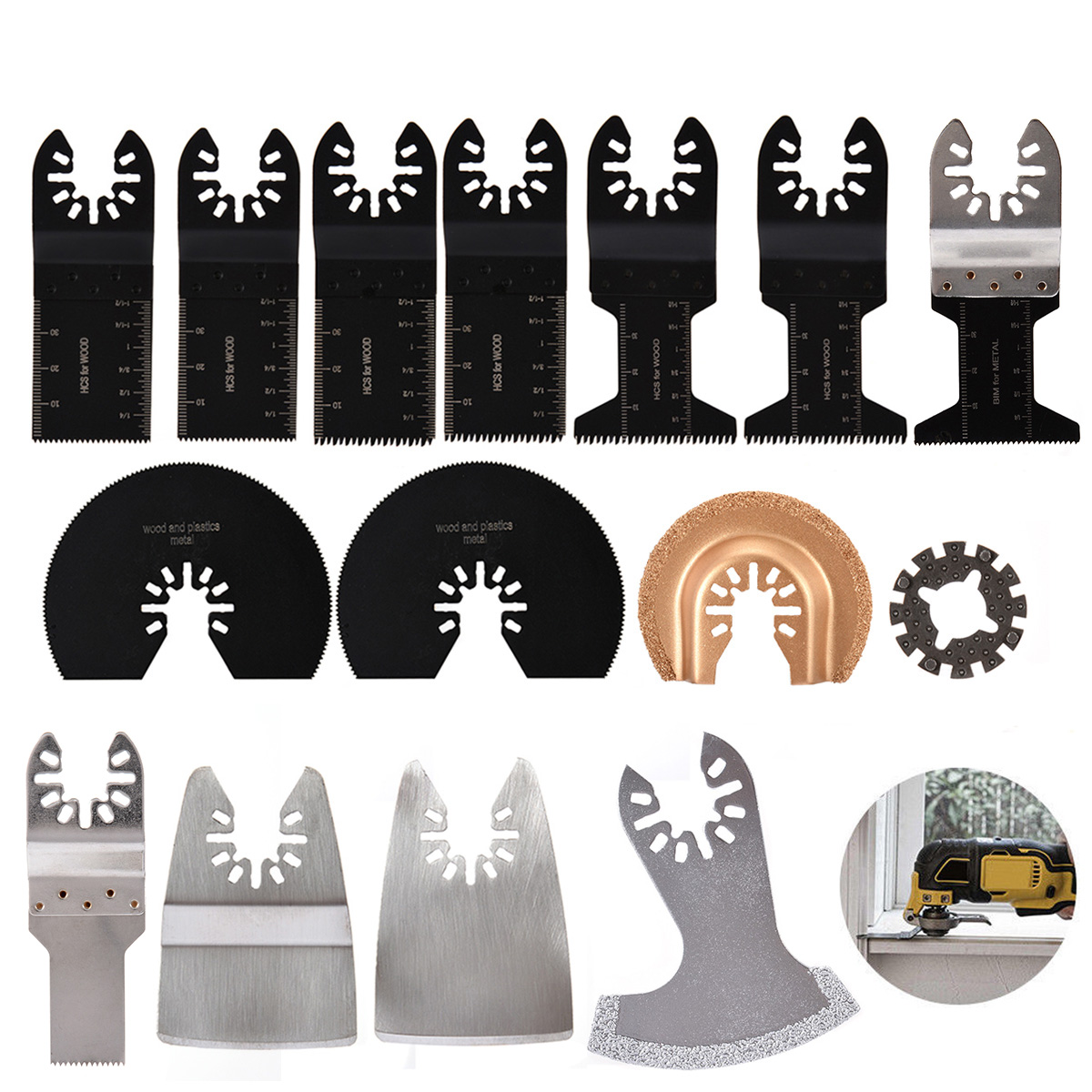 цена на 15pcs Oscillating Multi Tool Saw Blades Universal Cutting Blade Assortment Kit For Wood Plastic Metal Cutting