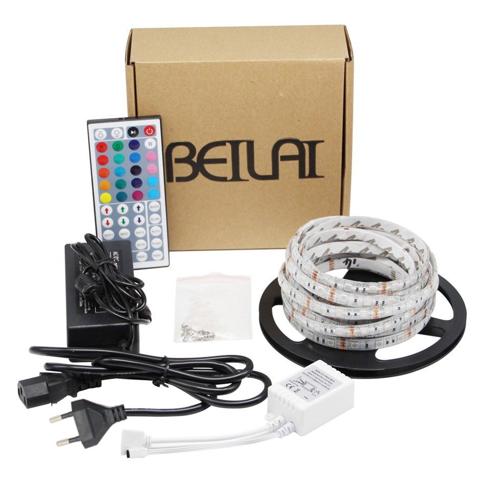 RGB LED Strip 5050 Waterproof Diode Tape Bande LED Light Flexible Neon + 44 Key IR Remote Controller + 5A DC12V EU Power Adapter