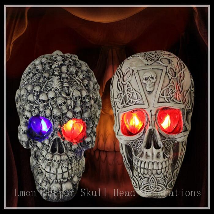 Livraison gratuite Halloween 1:1 crâne de résine terroriste artisanat de mode modèle de crâne humain bon pour la Collection d'art avec LED brillant