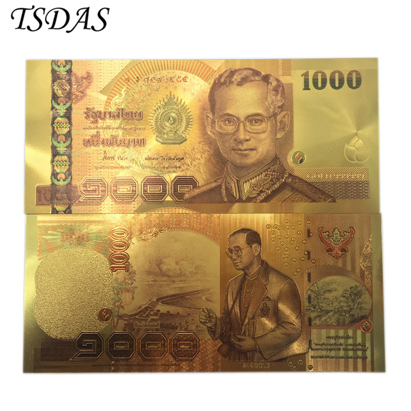 24K Colored Thailand 1000 Baht Gold Foil Banknote Double Side Printing Currency Banknotes Paper Money For