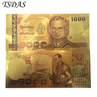 24K Colored Thailand 1000 Baht Gold Foil Banknote Double Side Printing, Currency Banknotes Paper Money For Collection