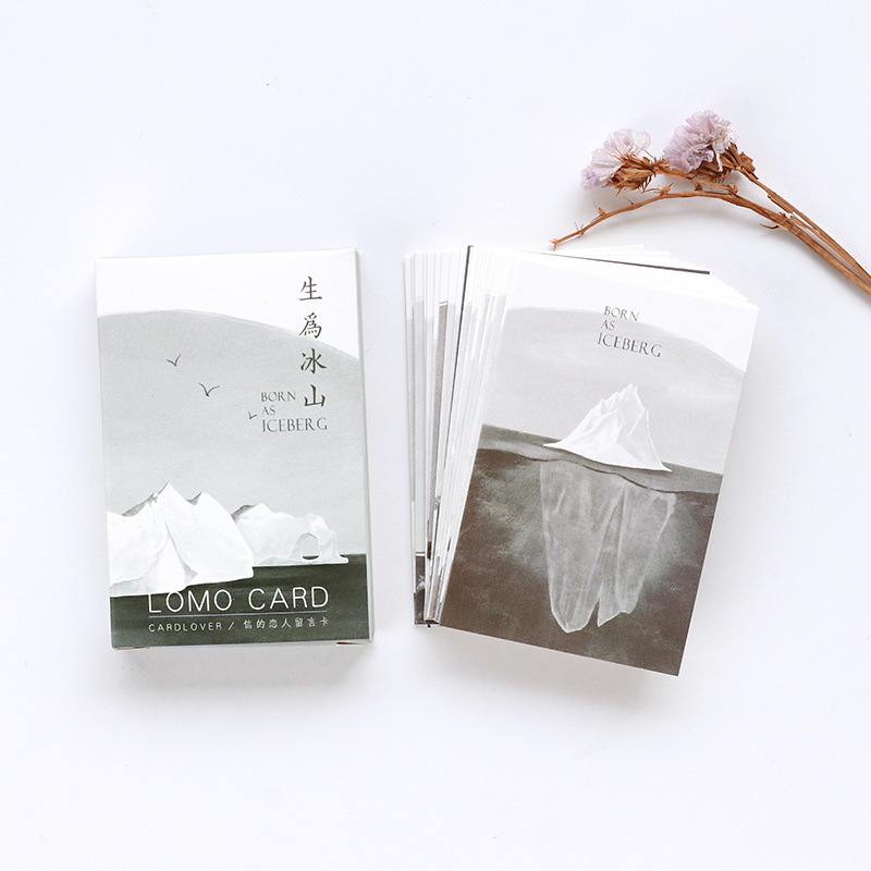 28 Sheets/Set Creative Iceberg Series Mini Lomo Postcard /Greeting Card/Birthday Letter Envelope Gift Card Message Card